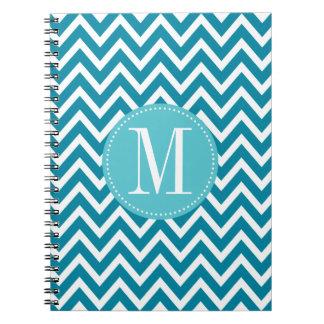 Blue Chevron Custom Monogram Spiral Notebook