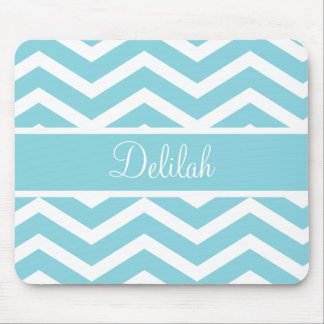 Blue Chevron Custom Name Mouse Pad