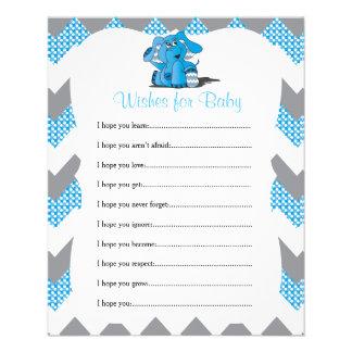 Blue Chevron Elephant Baby Boy Shower - Wishes Flyer