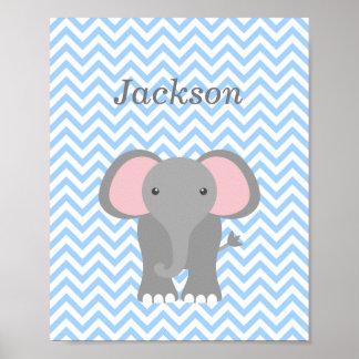 Blue Chevron Elephant Personalized Nursery Decor