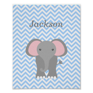 Blue Chevron Elephant Personalized Nursery Decor Poster