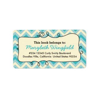Blue Chevron Girly Doodle Personalized Address Label