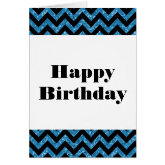 Blue Chevron Glitter Happy Birthday Card
