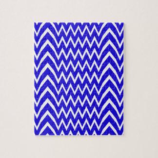 Blue Chevron Illusion Jigsaw Puzzle