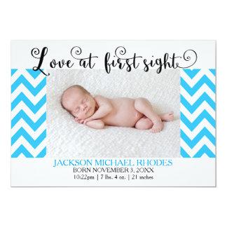 Blue Chevron Love @1st Sight - Birth Announcement