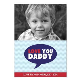 "Blue Chevron Love You Dad Photo Father's Day Card 5"" X 7"" Invitation Card"