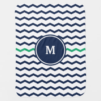 Blue Chevron Monogram Baby Blanket