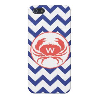Blue Chevron & Monogram Crab iPhone 5 Case