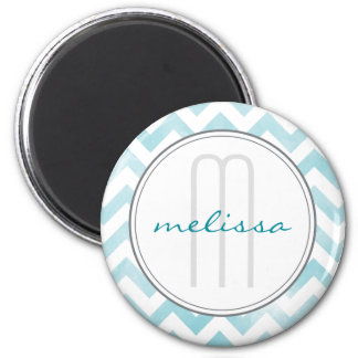 Blue Chevron Monogram Pattern Magnet