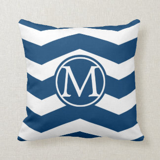 Blue Chevron Monogram Throw Pillow