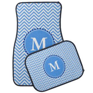 Blue Chevron Monogrammed Car Mat Set