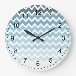 Blue Chevron Ombre Large Clock