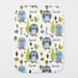 Blue Chevron Owls Personalized Baby Burp Cloths