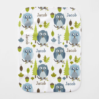 Blue Chevron Owls Personalized Burp Cloth