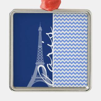 Blue Chevron; Paris Ornament