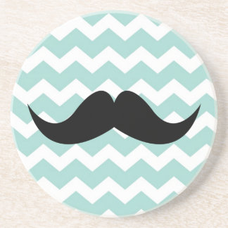 Blue chevron pattern mustache thirsty sandstone coaster