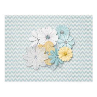 Blue Chevron Pattern With Flowers Postcard
