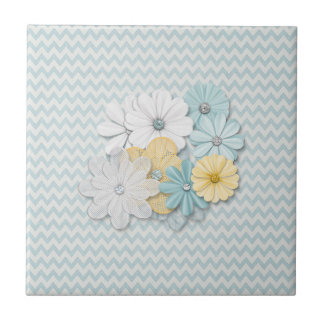 Blue Chevron Pattern With Flowers Ceramic Tiles