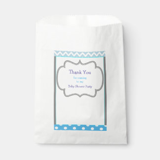 Blue Chevron & Polka Dot Baby Shower Party Favour Bag
