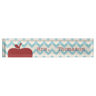 Blue Chevron Red Apple Teacher Nameplate