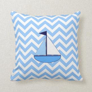 Blue Chevron Sailboat  (Zig Zag) Pillow