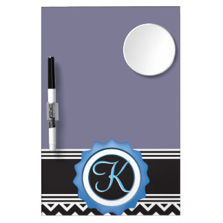 Blue Chevron Sapphire Black Monogram Dry Erase Board With Mirror