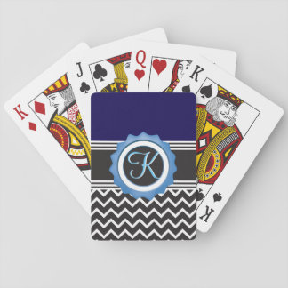 Blue Chevron Sapphire Black Monogram Playing Cards