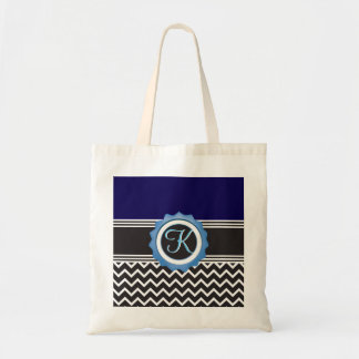 Blue Chevron Sapphire Black Monogram Tote Bag