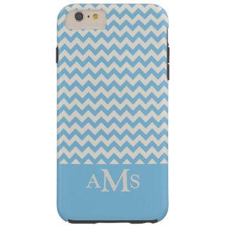 Blue Chevron Stripe 3 Monogram Tough iPhone 6 Plus Case