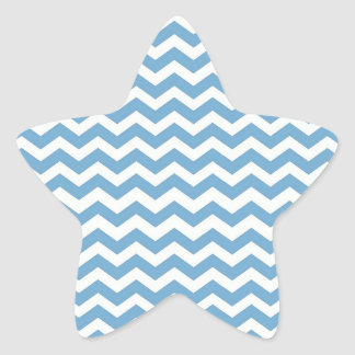 Blue Chevron Stripes Sticker Star