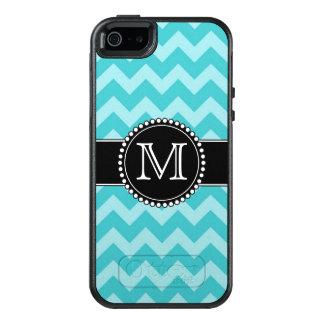 Blue Chevron, Tough, Monogrammed OtterBox iPhone 5/5s/SE Case