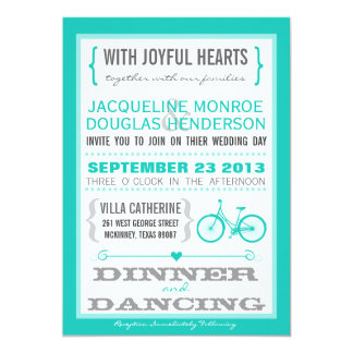Blue Chevron Trendy Bicycle Hearts Wedding Invite