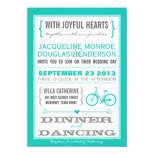 Blue Chevron Trendy Bicycle Hearts Wedding Invite