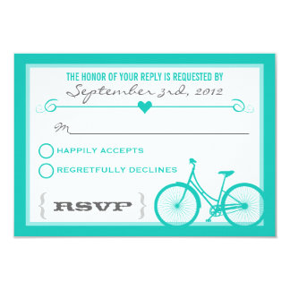 Blue Chevron Trendy Bicycle Hearts Wedding RSVP Card