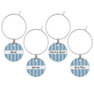 Blue Chevron Wedding Party Wine Glass Charms