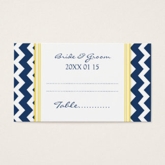 Blue Chevron Wedding Table Place Setting Cards