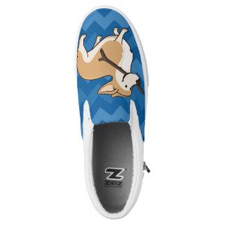 Blue Chevron with Cute Welsh Corgi Cartoon Dog Printed Shoes
