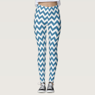 Blue Chevron Yoga pants Stretch Leggings
