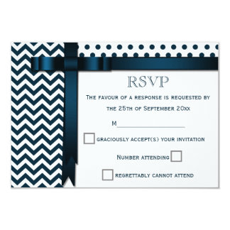 Blue Chevron Zig Zags and Polka Dots RSVP Response Card