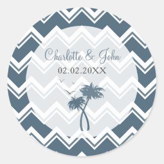 Blue chevron zigzag and Palm Trees Wedding sticker
