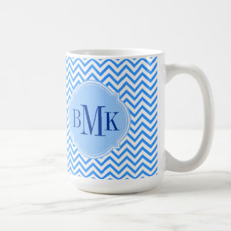 Blue Chevron Zigzag Pattern Monogram Personalized Basic White Mug