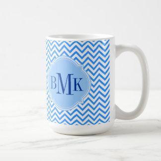 Blue Chevron Zigzag Pattern Monogram Personalized Basic White Mug