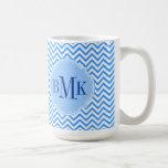 Blue Chevron Zigzag Pattern Monogram Personalized Coffee Mugs