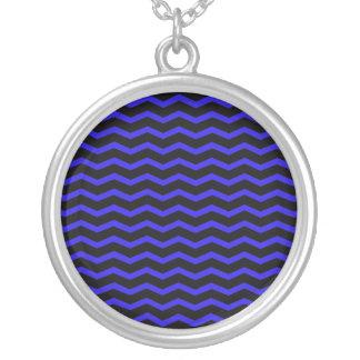 Blue Chevron Zigzag Pattern Round Pendant Necklace