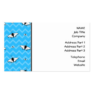 Blue Chevrons and Butterfly Pattern. Business Card Template