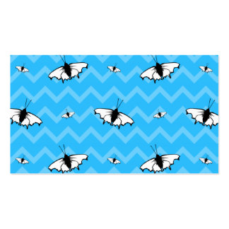 Blue Chevrons and Butterfly Pattern. Business Card Templates