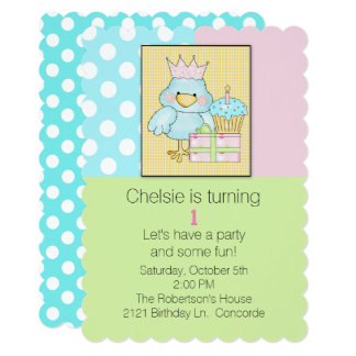 Blue Chic Babys First Birthday Invitation
