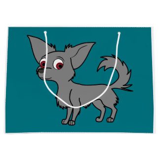 Blue Chihuahua with Long Hair Large Gift Bag