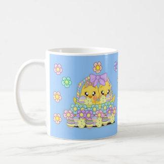 Blue Children's Easter Chick In Basket Mug