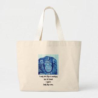 Blue Chimpanzee monkey funny animal Jumbo Tote Bag